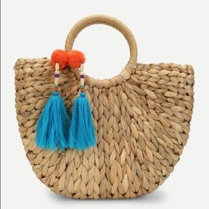 Handbags - Hand Woven Tassel Decorated Straw Tote Bag